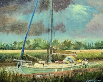 Storm clouds over the Stour, An original oil painting lovely gift! Unframed