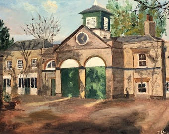 Coach House Shadows - An original 'plein air' oil painting         on canvas board! Lovely