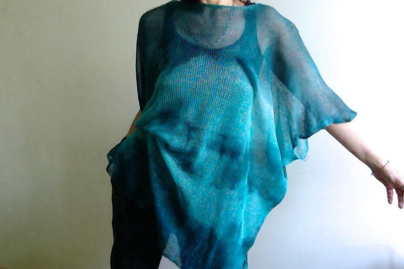 summer tunic Oversize loose top linen blue T-shirt VEGAN holiday seaside by Tati Blue linen blouse