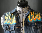 Retro Flames Hand Painted Vest