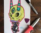 Goopy Skull - Original Drawing