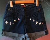 Holo Shapes Patchwork Upcycled Shorts