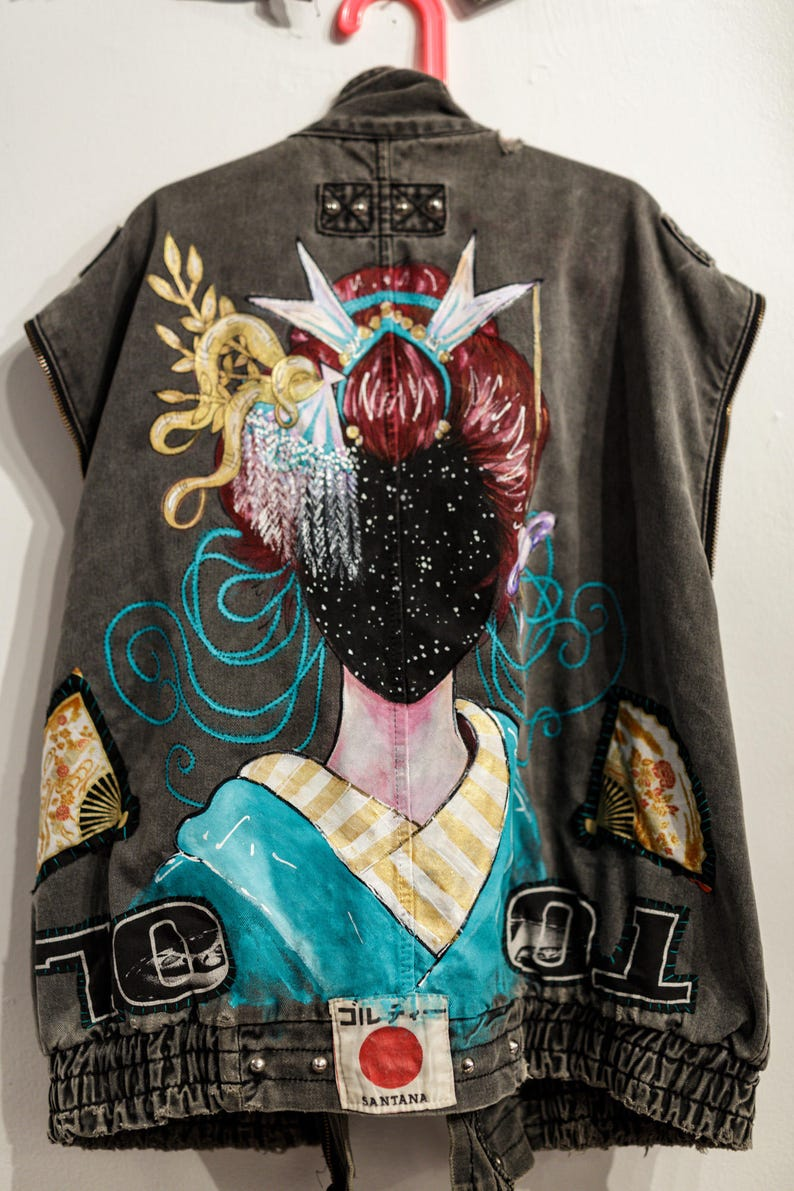 Space Geisha Up-cycled Vest  Hand Painted  Hand Patched image 0