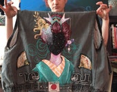 Space Geisha Up-cycled Vest - Hand Painted - Hand Patched
