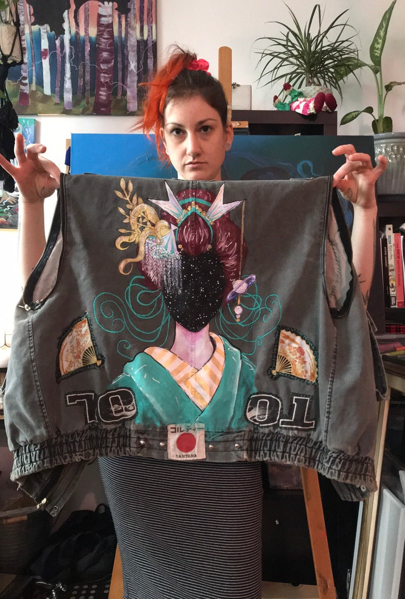 Space Geisha Up-cycled Vest  Hand Painted  Hand Patched image 1
