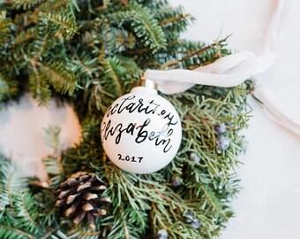 Custom Hand Lettered White Glass Ornament