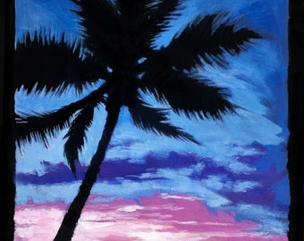 Blue Velvet - a beautiful palm tree silhouette, against a colorful sunset on a rocky beach.