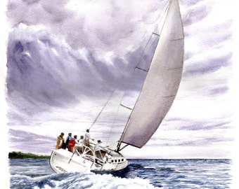 SAILING - A Scene in Winter during a Passing Squall.
