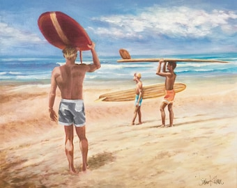 THE ENDLESS SUMMER -  Inspired by the Famous Poster & Iconic Film that rode the wave of Popularity 50 years ago! From an Original Acrylic.