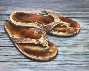 WORN OUT SANDALS - Beach Art Print - well worn beloved old flip flops, Coastal Sea decor, ready for one more trip to the beach