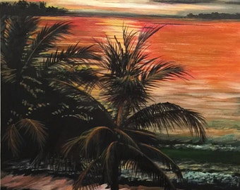 MOONLIGHT BAY - A tropical Sunset on a romantic beach. This is a Print of an Acrylic painting done on black canvas.