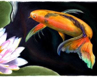 "KOI FISH - Watercolor Painting Print, 7.5""x9.5"" and 11x14, orange, blue, green, pink"