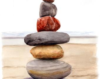 BALANCED ROCKS - Stacked Stone Cairns Beach Landmark Watercolor Painting Print