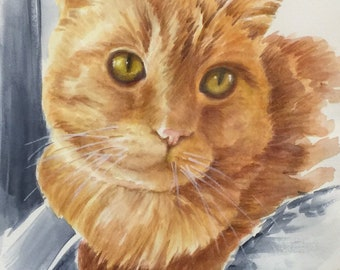 """MrMurphyCat-  Watercolor Painting Print, 7.5""""x9.5"""" and 11x14, blues, and golds"""