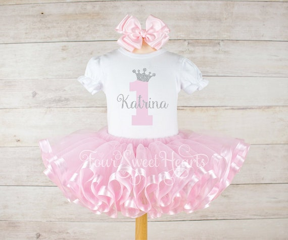 1st Birthday Princess Dress.Girl 1st Birthday Outfit Princess Birthday Outfit Princess Dress Pink Tutu Pink Silver Tutu Princess Birthday Princess Party Outfit