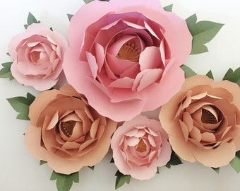 Large Paper Peony Set of 5