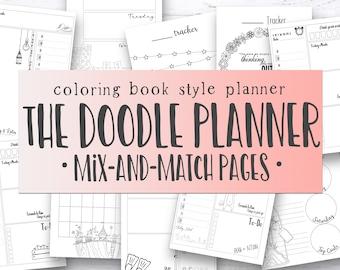 Doodle Planner Ultimate Planner Bundle #1 - printable coloring doodle planner, printable planner inserts to color - undated digital planner