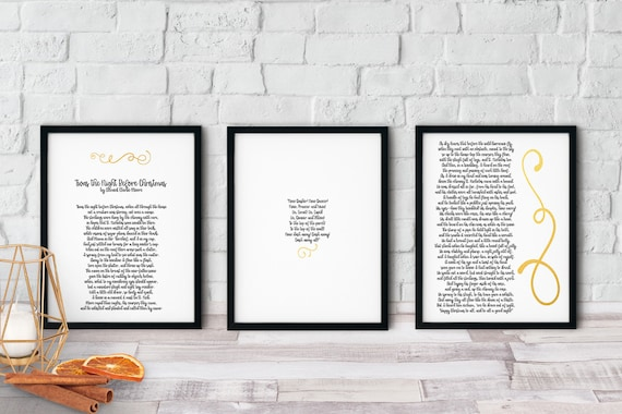 Twas The Night Before Christmas Printable Poem Set 3 Page Printable Christmas Wall Art For Home Decor And Diy Gifts
