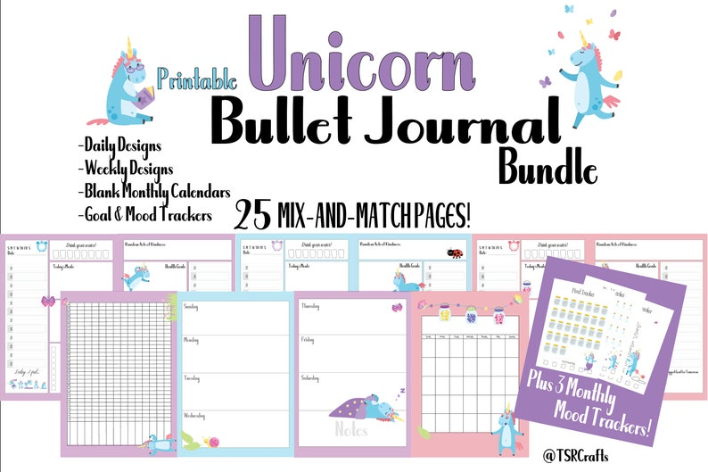Unicorn Bullet Journal Printables Printable BUJO Planner image 0