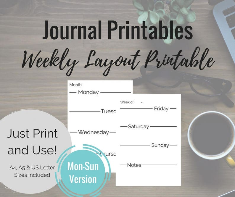 image relating to Wreck This Journal Printable Pages identified as Printable Magazine Web pages - Monday-Sunday \