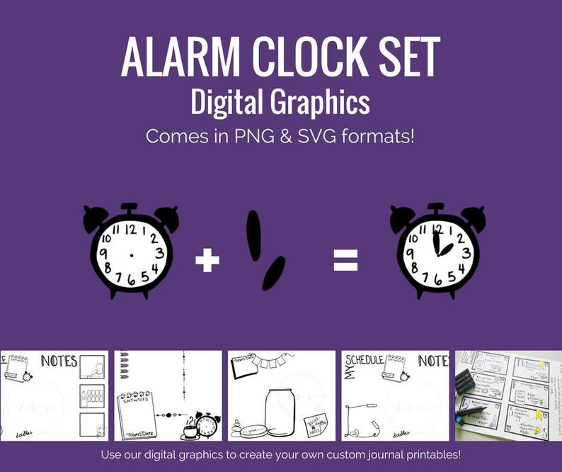 Digital Graphics - Alarm Clock Set (png and svg) Bullet Journal Digital  Stickers