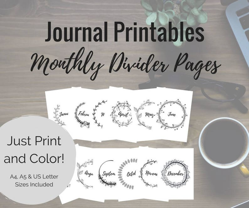 Printable Journal Divider Pages  Monthly Title Journal image 0