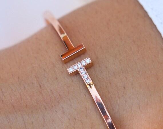 T bar Bracelet, Gold Bangle Bracelet, Cuff bracelet, Open bracelet, Gold cuff bangle, Open bangle, 2 mm Gold Bangle, Cuff Bracelet
