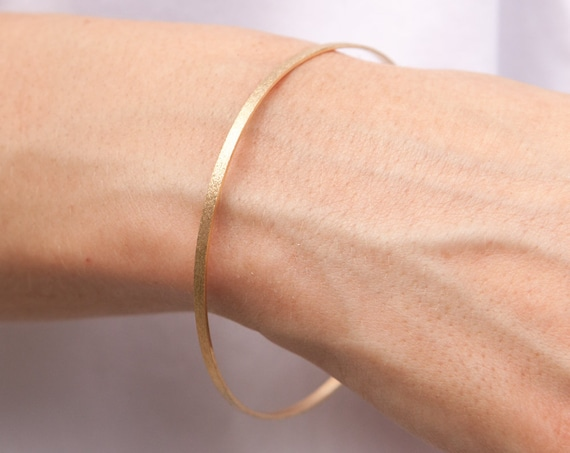 Gold Bangle Bracelet, Solid Gold Bangle, Jewelry Gift for Her, Wide Gold Bangle, 2 mm Gold Bangle, Stacking Bracelet, Cuff Bracelet