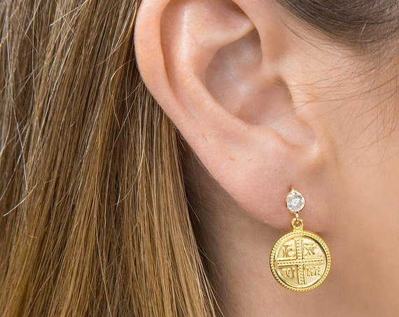 Christian Earrings, Greek Christian Earrings, Solid Gold 14k Cross Earrings, Coin Charm, Byzantine Cross, Orthodox Gold Coin Earrings
