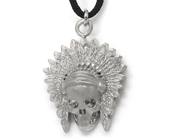 Apache Necklace, Indian Scull Charm, American Indian Scull, Indian Head Necklace, Apache Jewelry, Native American Charm, Mens Necklace