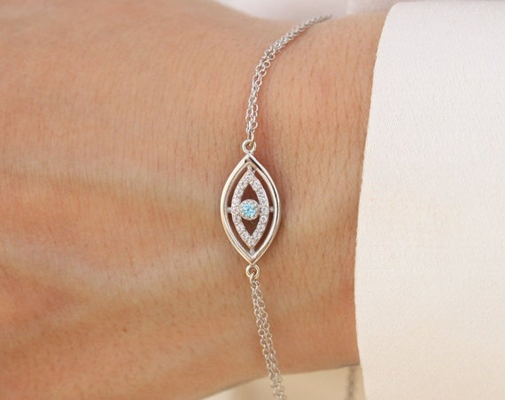 Gold Eye Bracelet, Evil Eye Bracelet, Gold Eye Charm, Protection Bracelet, Eye Gem Bracelet, Rose Gold Eye Bracelet, Good Luck Bracelet