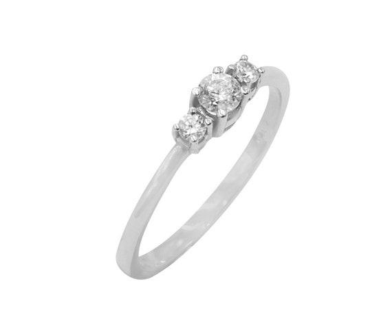 Diamond Gold Ring, Triple Stone Ring, Wedding Ring, Engagement Ring, Gold Stacking Ring, Natural Diamond Ring, Promise Ring,Ring with 3 gems