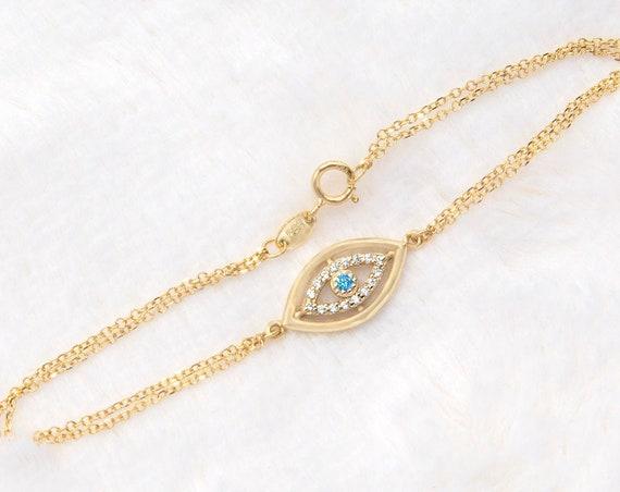Gold Eye Bracelet, Evil Eye Bracelet, Gold Eye Charm, Protection Bracelet, Eye Gem Bracelet, Rose Gold Eye Bracelet, Good Luck Bracelet
