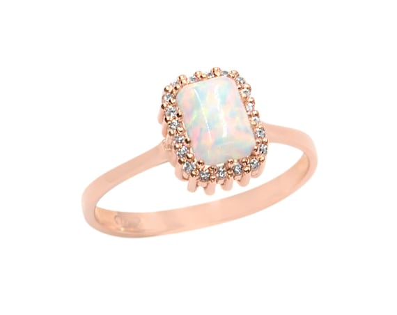 Emerald cut White Opal Ring, Gold Opal Ring, Fire Opal Ring, Octagon Opal Ring, Birthstone Ring, Opal Engagement Ring, Emerald Cut Halo Ring