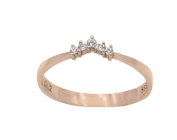 Curved Diamond Ring, Diamond Cluster Ring, Cluster Ring, Wedding Ring, Diamond Engagement Ring,  Rose Gold Ring, Diamond Stacking Ring