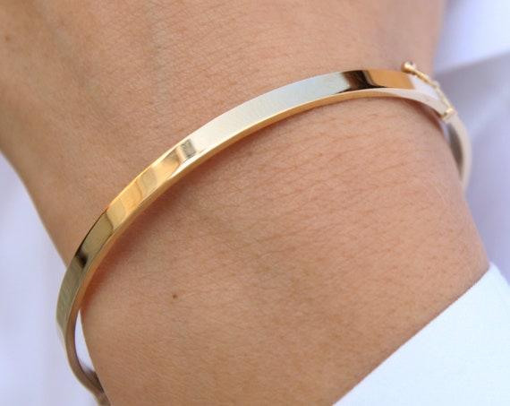Plain Gold Bracelet, Gold Bangle Bracelet, Simple Real Gold Bangle, Wide Gold Cuff, 4 mm Wide Bracelet , Love Bracelet, Engraved Bracelet