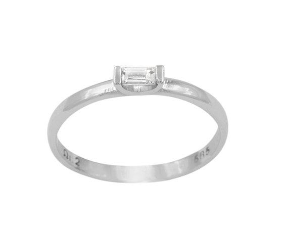 Diamond Engagement Ring, Baguette Ring, Baguette Diamond Ring, Diamond Ring, Solitaire Ring, Promise Ring, Wedding Ring, Diamond Dainty Ring