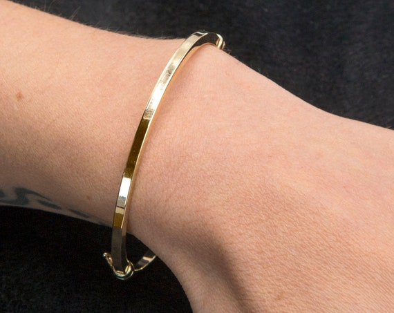 Gold Dainty Bracelet, Plain Gold Bracelet, Gold Bangle Bracelet, Simple Gold Bangle, Stacking Gold Cuff, 2 mm Wide Bracelet, 14k gold Bangle