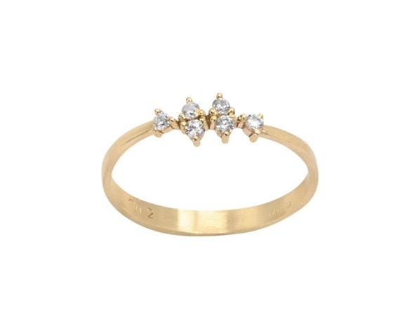 Engagement Ring, Diamond Ring, Six Diamonds Ring, Marquise shape Ring, Gold Stacking Ring, Black Diamond Ring, 14karats Solid Gold Ring