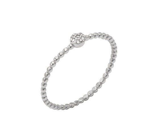 Diamond Ring, Thin Diamond Ring, Thin Ring, Gold Beaded Ring, Diamond Stacking Ring, Thin Dot Ring with Diamonds, 14k Gold Ring