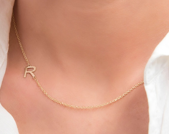 Initial Necklace, Sideways Initial Letter, 14k Gold Asymmetrical Initial Necklace, Gold Monogram, Initial Letter