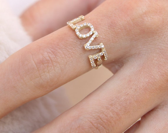 Gold Love Ring, Script Love Ring, Engagement Ring, Promise Ring, Love Word Ring, Gemstone Ring, Love Gift, Solid Gold 14 Karats