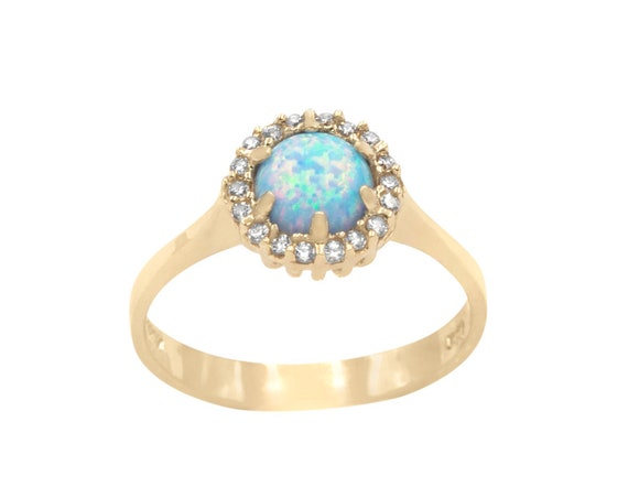 Opal Ring, Gold Opal Ring, Blue Opal Ring, Circle Opal ring, Australian Opal Ring, Rainbow Opal Ring, Opal Engagement Ring, Opal Halo Ring