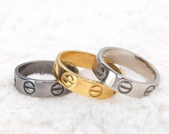 Gold Band Ring, Gold Wedding Band, Silver Screw Ring, Flat Silver Band, Mens Wedding Band, 925 Band Ring, Wide Band Ring, Engraved Ring