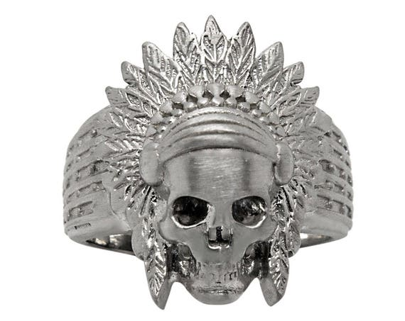 Silver Apache Ring, Indian Scull Ring, American Indian Scull, Indian Head Ring, Apache Jewelry, Indian American Ring, Mens Silver Ring