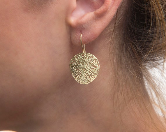 Gold Dangle Earrings, Gold Circle Earings, Gold Earrings, Boho Earrings, Gold Hanging Earrings, Spiderweb Jewelry, Solid Gold 14 karats