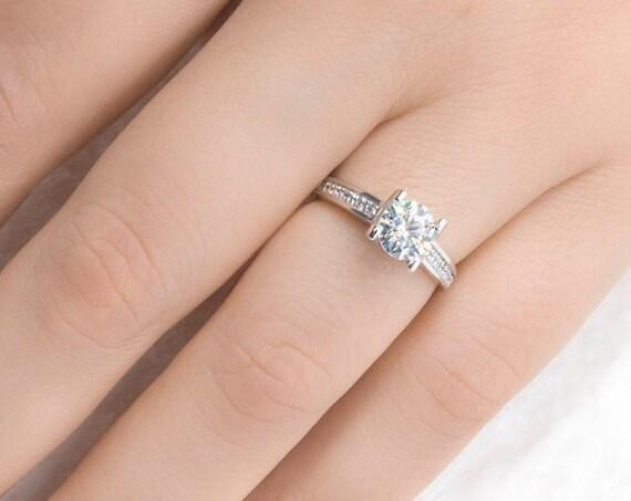 Round cut Engagement 14k Rose & White Gold, Circle Simulated Diamond, Round Cut White Cz Engagement Ring,  Gold Circle Ring,Wedding Ring