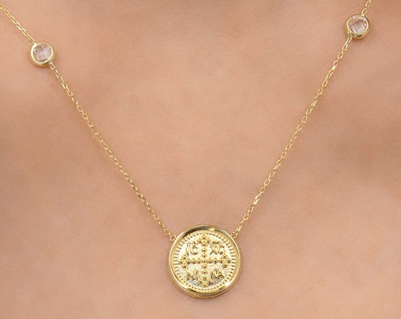 Christian Necklace, Greek Christian Necklace, Solid Gold 14k Cross Pendant, Coin Charm, Byzantine Cross, Orthodox gold coin necklace