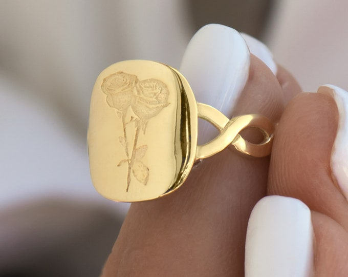 Birth Flower Signet Ring, Pinky Signet Ring, Gold 14k Pinky Ring, Floral Signet Ring,  14k Pinky Ring, Flower Jewelry, Ring with Flower