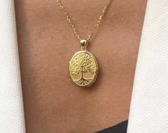 Solid Gold 14k Locket Necklace, Locket Necklace with Photo, Tree of Life Picture Locket, Gold Locket Necklace Engraved , Grandma Locket